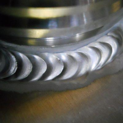 Hliníková nádrž - detail zvaru metóda TIG